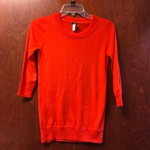 J Crew Merino Wool Red 3/4 Sleeve Sweater